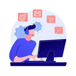 assistant-ligne-aide-utilisateur-questions-frequemment-posees-personnage-dessin-anime-travailleur-centre-appels-femme-travaillant-hotline-min