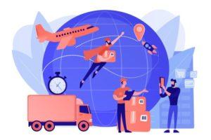 courrier-transportant-commande-livrant-colis-service-livraison-express-fret-logistique-distribution-fret-aerien-concept-courrier-postal-mondial