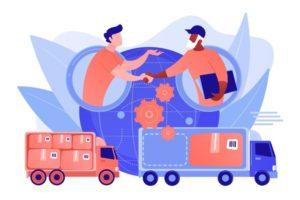 service-expedition-mondial-distribution-internationale-logistique-collaborative-partenaires-chaine-approvisionnement-concept-optimisation-couts-fret-illustration