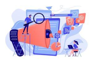 equipe-commerciale-icones-megaphone-medias-travaille-optimisation-moteurs-recherche-marketing-ligne-concept-outils-referencement