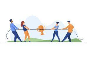 equipes-competition-pour-prix-personnes-jouant-au-tir-corde-tirant-corde-illustration-vectorielle-plane-coupe-doree-concours-concept-concours